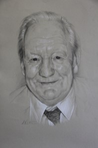 Portrait drawing in pencil and pastel pencils by Annabelle Valentine