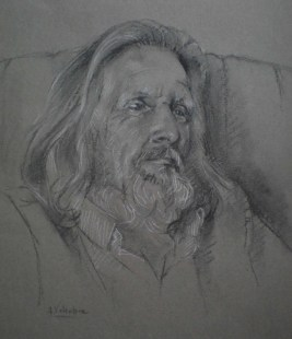 Portrait drawing in charcoal and pastel pencils by Annabelle Valentine