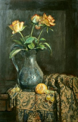 Yellow Roses, a still life painting in oils by Annabelle Valentine