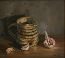Garlic Jug, a still life painting in oils by Annabelle Valentine
