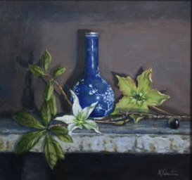 Green Flowers, a still life painting in oils by Annabelle Valentine