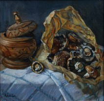 Mushrooms In A Paper Bag, a still life painting in oils by Annabelle Valentine