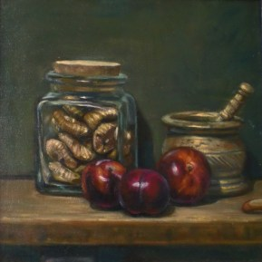 Plums And Figs, a still life painting in oils by Annabelle Valentine