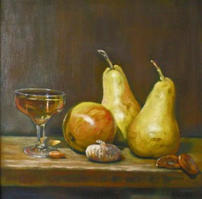 Brandy And Pears, a still life painting in oils by Annabelle Valentine