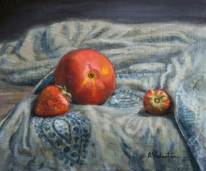 Strawberries, a still life painting in oils by Annabelle Valentine