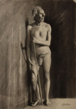 Life drawing portrait in charcoal by Annabelle Valentine