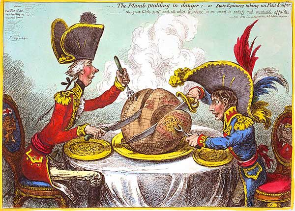 Pitt & Boney carve up the Magic Pudding that was the World (Pitt gets the bogger slice but Bonaparte's is arguably choice) Drawing by James Gillray
