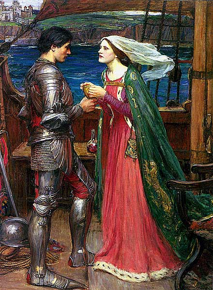 Tristan, Isolde and the potion (John William Waterhouse, c. 1916)