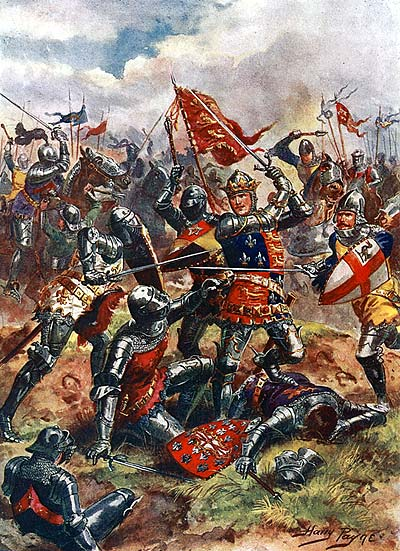 Painting of King Henry V at Agincourt (Harry Payne, 1915)