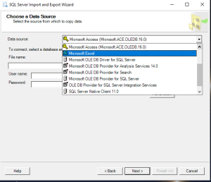SQL Import Export select source