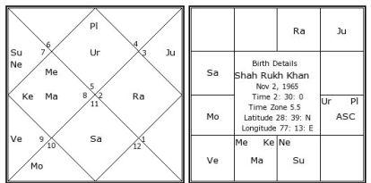 Sasa Yoga in Shahrukh khan horoscope.