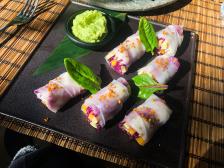Opium Sushi Bar's vegan spring rolls