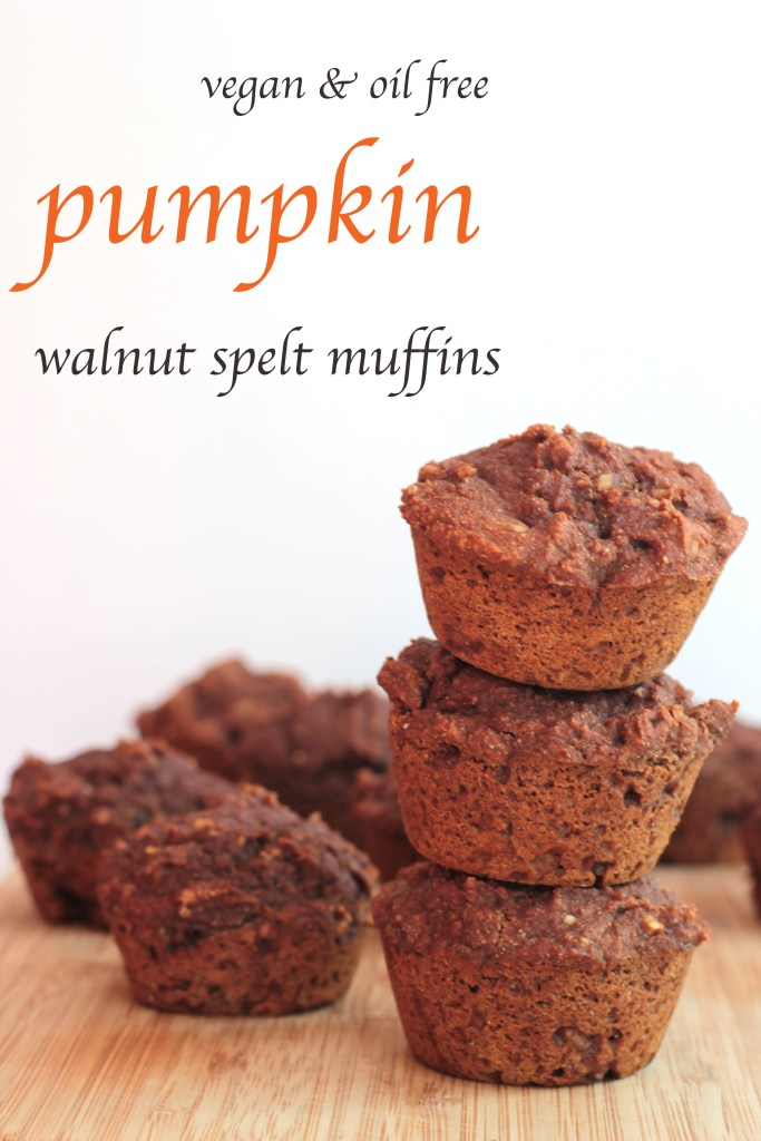 Pumpkin Walnut Spelt Muffins - Vegan, Wheat free and Oil Free! Healthy Pumpkin baked goods yum! #vegan #wheatfree | theveganginger.com