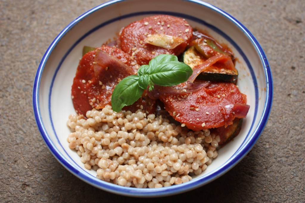 Mallorcan tumbet with giant couscous – The Vegan Twist