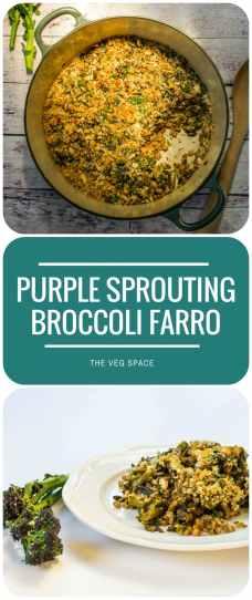 Purple Sprouting Broccoli Baked Farro Risotto