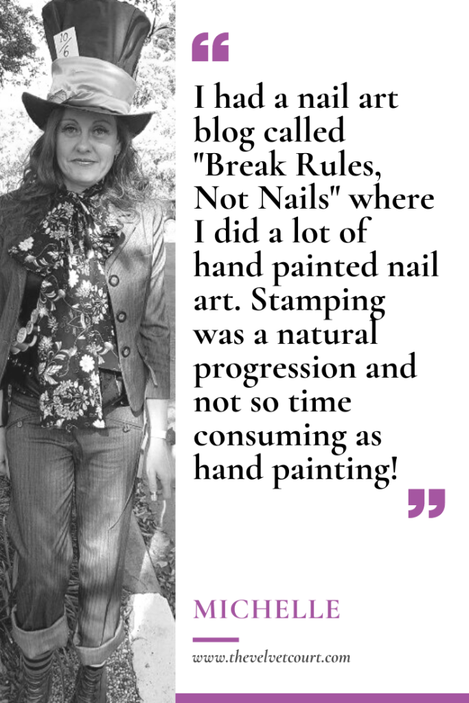 Michelle owns Hit The Bottle, an Australian nail stamping company. With a creative streak and a love of art, she saw nail stamping as a natural progression. Inspired by the world around her, she also likes to have a bit of fun with her products.