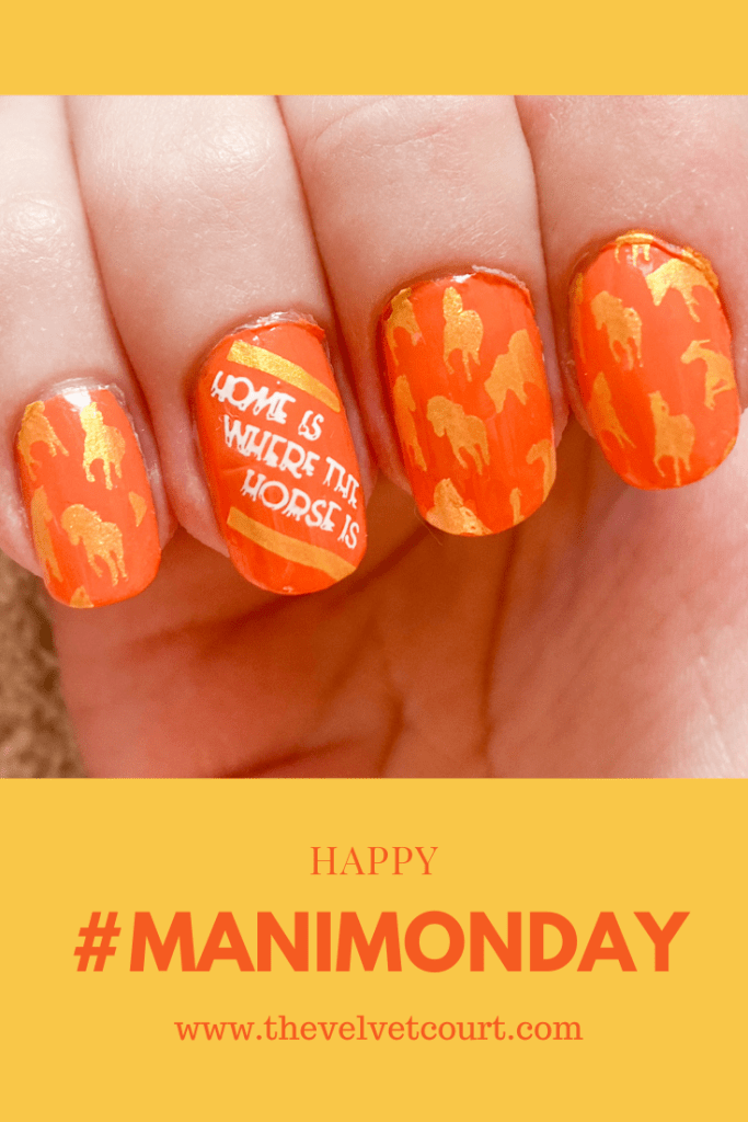"""Discover how you can create these orange and yellow horse nails using Lina Nail Art Supplies """"All Mixed Up 01"""", Clear Jelly Stamper """"CJS LC-40 Horsin' Around"""" and PICT You """"PY-J026"""" stamping plates and Born Pretty """"BP-WN04 Pure"""" and Hit the Bottle """"Hello Buttercup"""" stamping polish."""