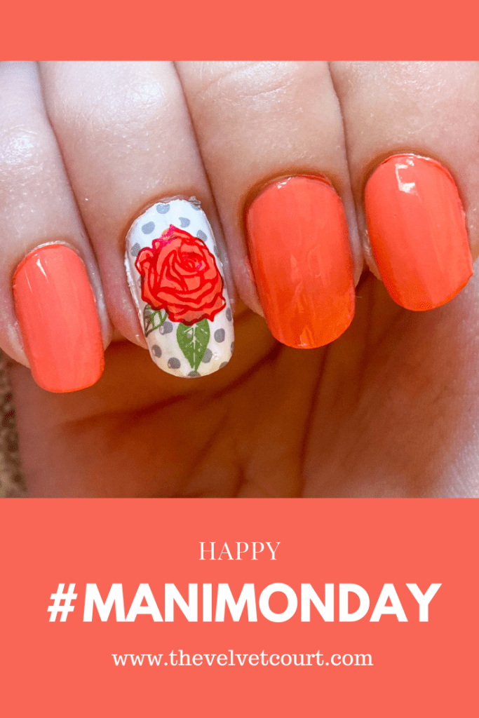 """Discover how you can recreate these coral rose nails using Born Pretty """"BP-L013"""" and PICT You """"PY-J023"""" stamping plates and Born Pretty """"BP-AC01 Pomegranate Red"""" and Hit the Bottle """"Cactus Juice"""" and """"A Flock of Seagulls"""" stamping polishes."""