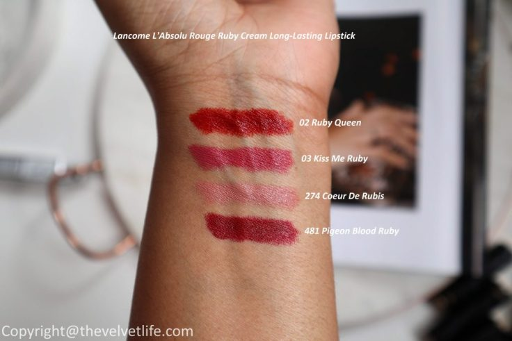 Lancome L'Absolu Rouge Ruby Cream Long-Lasting Lipstick review swatches