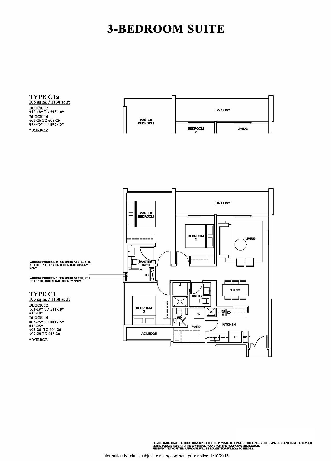 The Venue Residences 3 Bedroom Suite Floor Plan Type C1a and C1