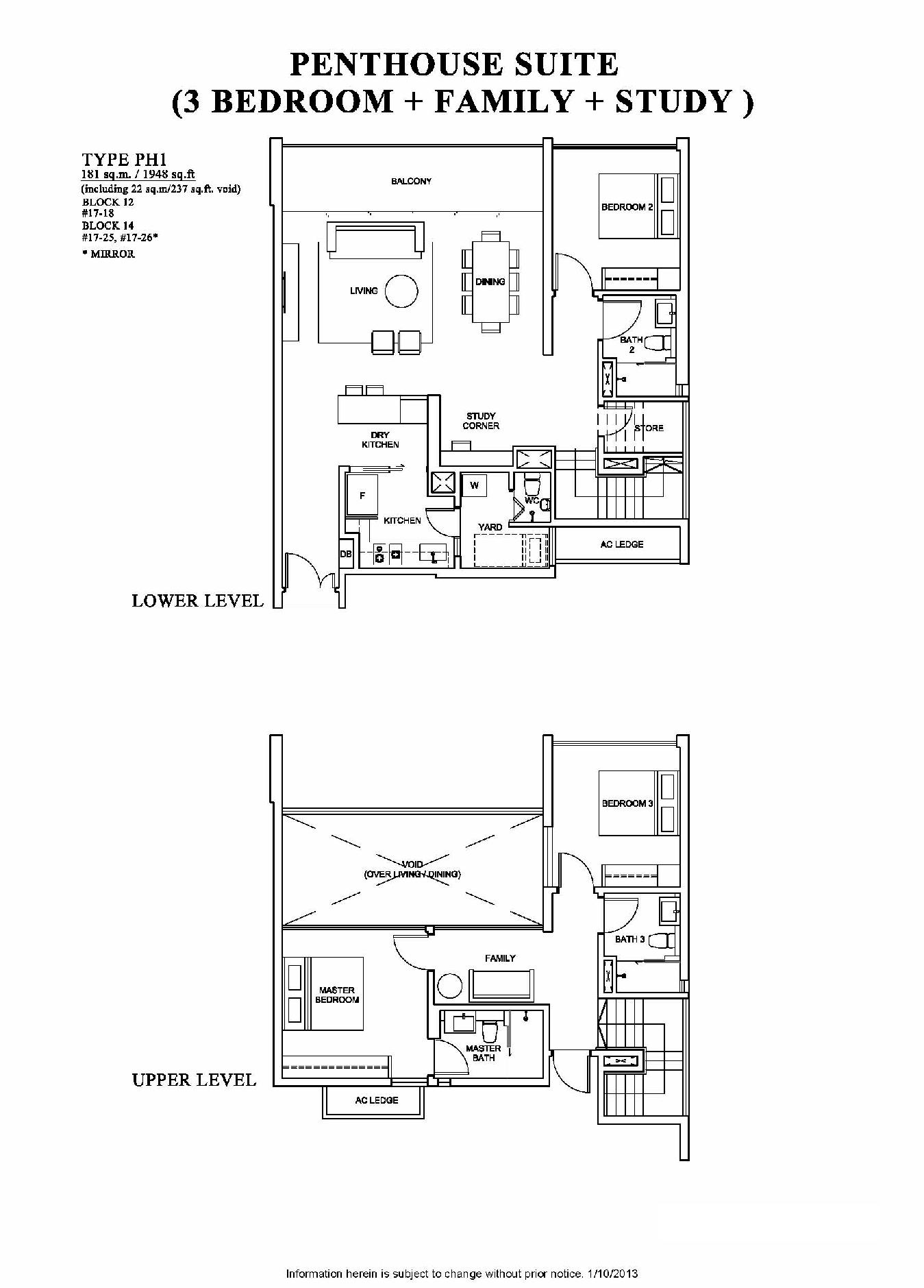 The Venue Residences 3 Bedroom + Family + Study Penthouse Suite Floor Plan Type CP1