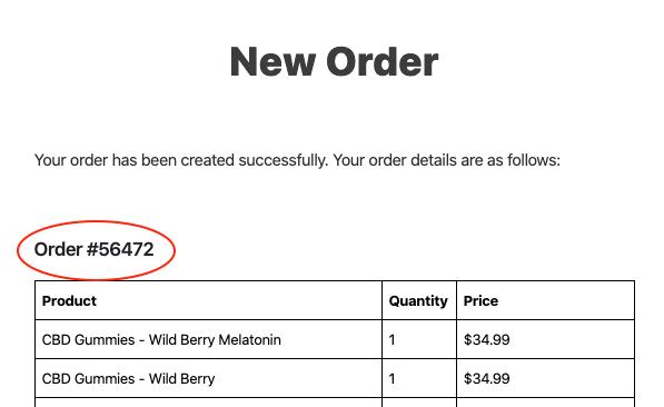 order screenshot