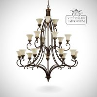 Walnut chandelier with 18 up lights | Large ceiling ...