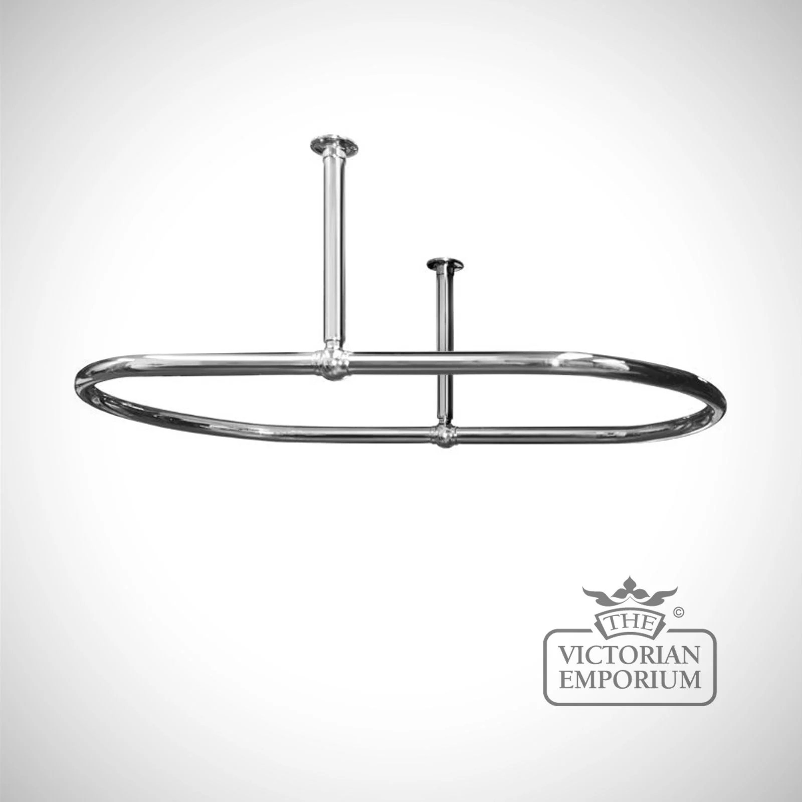 oval shower curtain rail chrome with side stays