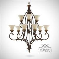 Double tier walnut chandelier   Ceiling chandeliers