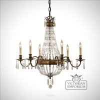 Bronze and Antique Quartz 6 light chandelier
