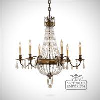 Bronze and Antique Quartz 6 light chandelier