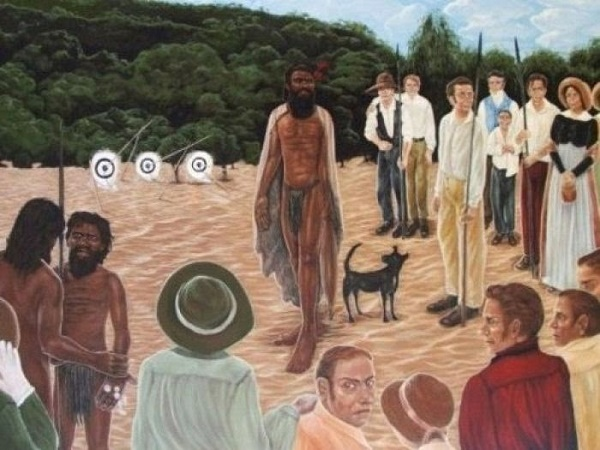 Albany Noongars Manyat and Gyallipert meet Yagan, leader of the Swan River Noongars, at Lake Monger, Perth, in 1833. The painting 'Yagan' is by the outstanding indigenous artist Julie Dowling. Julie Dowling Insight and Review