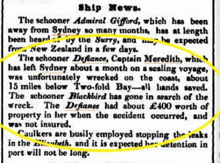 Defiance - Meredith - 24 Oct 1833 - Syd Hld