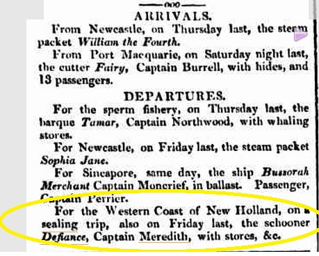 Defiance - Meredith - 30 Sept 1833 - Syd Herald