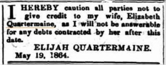 Elijah cuts off Eliza 1864 ICN 25.5.1864