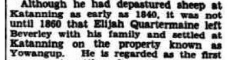 Elijah depasturing as early as 1840 - legend