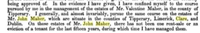 John Maher - Landlord - Testamemt of Nicholas Maher 1843 -