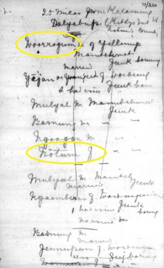 Woorgum - Bates handwritten