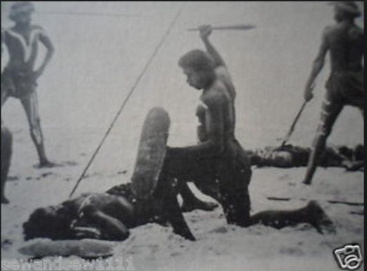 Aboriginal spear fight - uncredited internet postcard