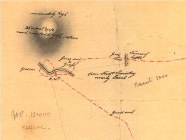 Moorilup Map - 1831 Collie and Mokare by Alfred Hillman