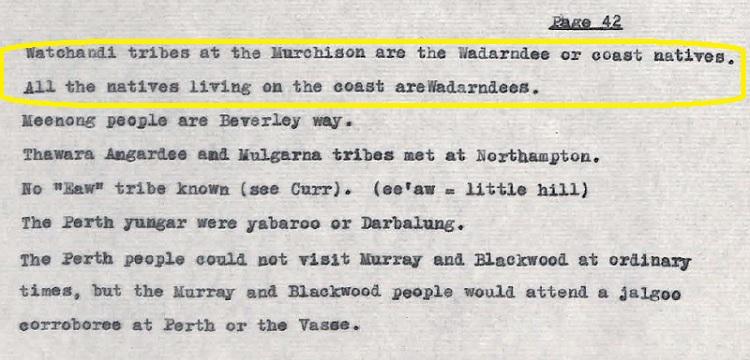 Coastal Plain Aborigines are Wadarndees - Bates