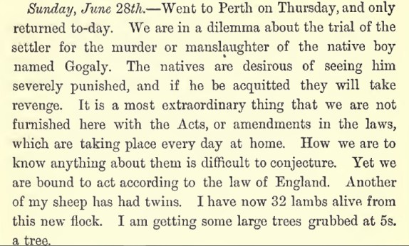 G.F. Moore comments on Gogalee death 28 June 1835 - Pg 271