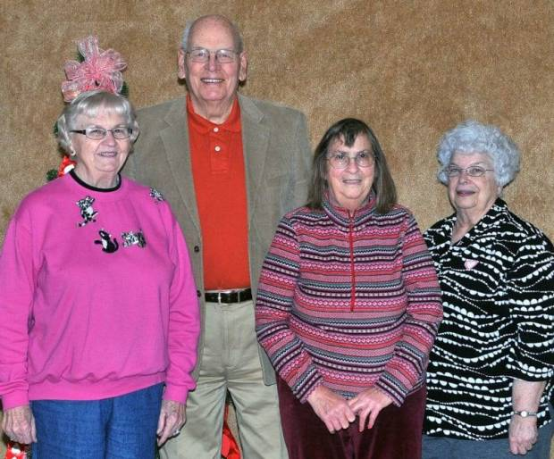 SPECIAL DAY … Celebrating birthdays at the Edon Senior Center on Thursday, February 14, 2013 were, from left, Lucy Bauer, Karl Mauerhan, Mary Ann Shilling and Shirley Aldrich.  St. Joseph Catholic Church provided this month's special table favors and birthday gifts.