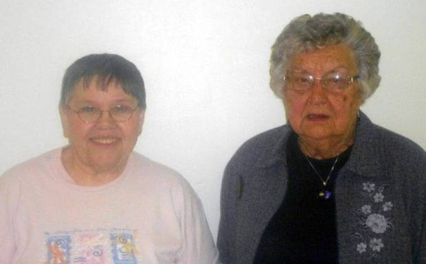Celebrating birthdays from West Unity are Donna Cully (L) and Edith Wagner (R)