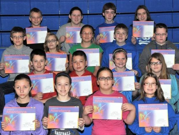 FIFTH AND SIXTH GRADE PERFECT ATTENDANCE … Edon Northwest Elementary School Fifth and Sixth Grade students honored for Perfect Attendance during the 2012-2013 Third Nine Week Grading Period were:  Front row, from left, fifth graders Hannah Ater, Riley Bloir, Jennifer Cook and Caitlyn Dietsch.  Second row, from left, fifth graders Jacob Dulle, Chris Farris, Alex Jacoby and Karlie Scher.   Third row, from left, fifth graders Connor Skiles, Taylor Trausch and sixth graders Leora Ballmer, Colin Dulle and Jonathan Fifer.  Top row, from left, sixth graders Tylor Hartman, Tammie Julian, Jacob Long and JoLynn Winebernner.  Not pictured ~ Zoe Neubig (sixth grade).