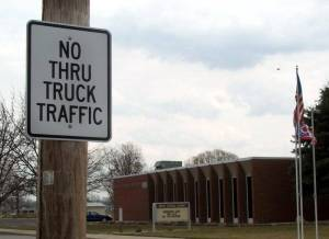 Truck traffic is no longer allowed on portions of Baubice Street in order to ensure the safety of students at the North Central Schools.