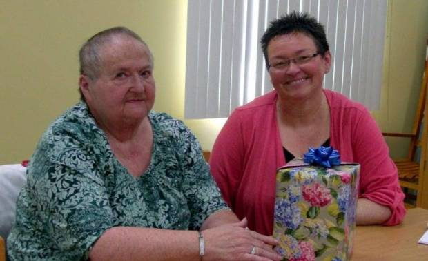 MONTPELIER ... Pam Alpaugh, CHWC-Bryan Radiology Dept. supervisor, shown at right, was guest speaker for CHWC-Montpelier Hospital Auxiliary's regular meeting Monday, May 13th. She was the guest of Past President Ruth Smethurst, left, who presented her an appreciation gift.