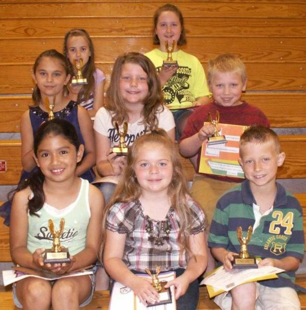 Grade 1, 2 and 3 Student of the Year: Row 1 – Martha Marmolejo, Kirian Mercer, Gage Kidston Row 2 – Isabelle Burnett, Makinzy King, Logan Endicott Row 3 – Jessie Lonabarger, Emily Lehsten