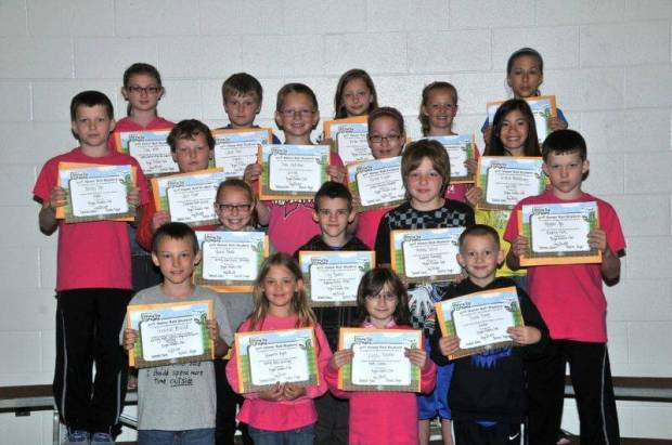 THIRD GRADE BUG AWARDS … Third Graders honored for bringing up their grades during the 2012-2013 Fourth Nine Week Grading Period in Mrs. Gensler's and Miss Johnson's classes were: Front row, from left, Trenton Arnold, Heavenlee Ayers, Kayda Bergman and Drake Berry. Second row, from left, Maicie Blade, Cory Brooks, Andrew Derico and Hayden Dye.  Third row, from left, Henley Dye, Jack Fifer, Drew Gallehue, Ashley Kaylor and Nikkie Phutseevong.  Back row, from left, Tiara Mills, Jacob Moon, Anna Northrup, Kerrin Towers and Breanna Heinze.