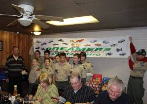 BIG THANKS TO DREAMERS C.C. ... Justin Freestone Scribe from Troop #8 presents a Thank You to President Duane McLaughlin from Dreamers Car and Truck Club during the clubs Christmas party.